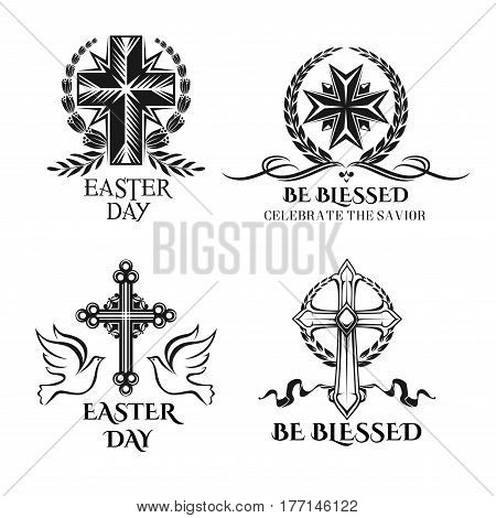 Easter icons and crucifix cross ornate symbols, doves and paschal greeting text be blessed, celebrate Christ savior for resurrection Sunday. Vector design of Christian Easter religion holiday