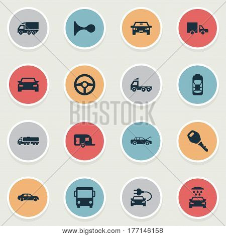Vector Illustration Set Of Simple Automobile Icons. Elements Klaxon, Repairing Service, Camion And Other Synonyms Steering, Shower And Key.