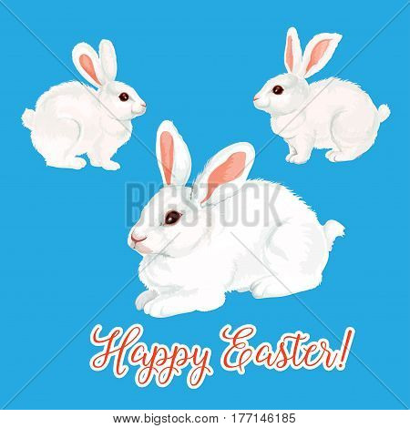 Happy Easter greeting card of paschal bunny rabbit or white hare for egg hunt. Vector isolated symbols set for Easter or Resurrection Sunday religion holiday design