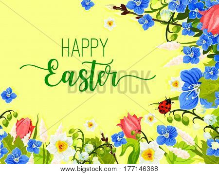 Happy Easter greeting of paschal eggs and spring flowers wreath of tulips, snowdrops and lily of valley with butterfly and ladybug. Easter vector template for Resurrection Sunday religion holiday