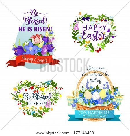 Easter icons for greeting design. Paschal eggs in wicker basket and flowers bouquet of crocuses, lilies, tulips and daffodils in wreath. Happy Easter and He is risen religion holiday vector ribbons
