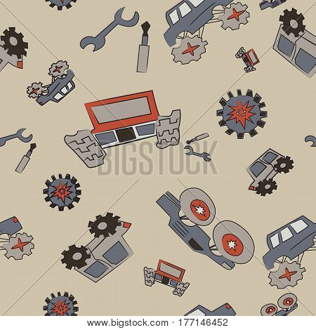 Vector seamless pattern with cars on a beige background