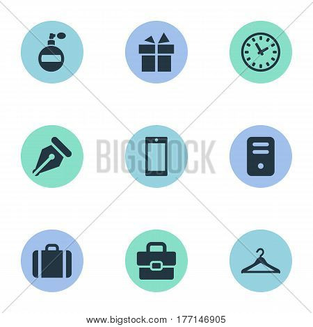 Vector Illustration Set Of Simple Accessories Icons. Elements Business Bag, System Unit, Fragrance And Other Synonyms Gratuity, Deodorant And Nib.