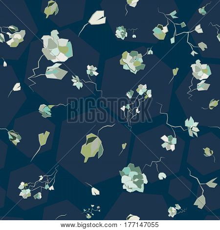 Seamless pattern geometric flowers on a blue background