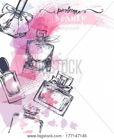 Beautiful perfume bottle on watercolor background. Beautiful and fashion background. Vector illustration.