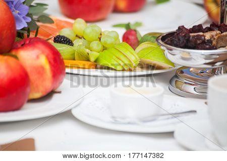 Fresh Organic Fruit Salad on a plate