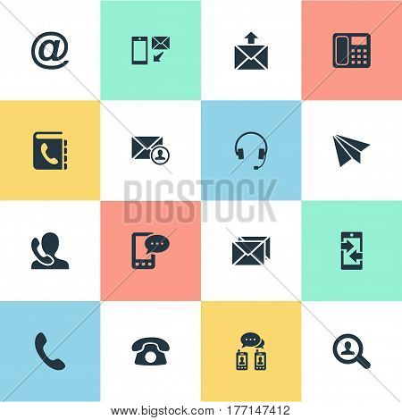 Vector Illustration Set Of Simple Connect Icons. Elements Postal, Correspondence, E-Mail Symbol And Other Synonyms Paper, Career And Postage.