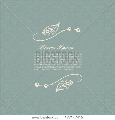 Gray-blue calligraphic decorative elements. Graphic elements mimic leaves. Retro style design Collection invitations, banners, posters, banners, icons and logos.