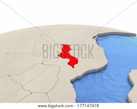 Malawi On Globe With Watery Seas