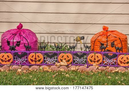Halloween decorations in front of a house