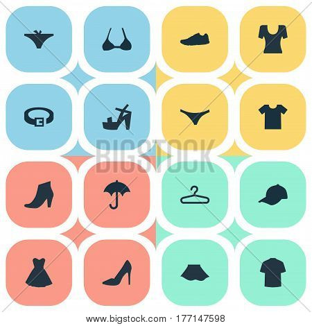 Vector Illustration Set Of Simple Dress Icons. Elements Attire, Brasserie, T-Shirt And Other Synonyms Protect, Hanger And Top.