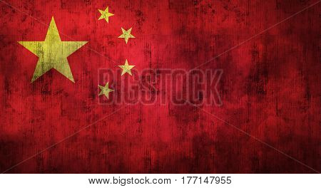 Grunge crumpled Chinese flag background with dirt. 3d rendering