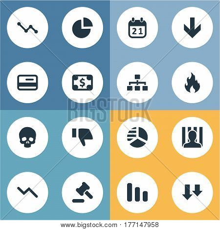 Vector Illustration Set Of Simple Crisis Icons. Elements Line Chart, Plastic Card, Agenda And Other Synonyms Calendar, Skull And Circular.