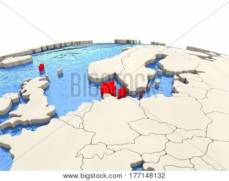Denmark On Globe With Watery Seas
