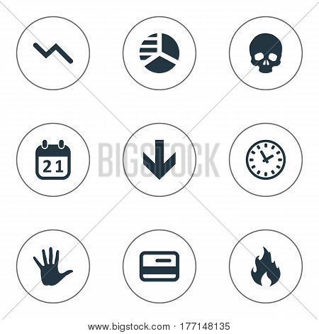 Vector Illustration Set Of Simple Impasse Icons. Elements Plastic Card, Fire, Down Cursor And Other Synonyms Skull, Head And Plastic.