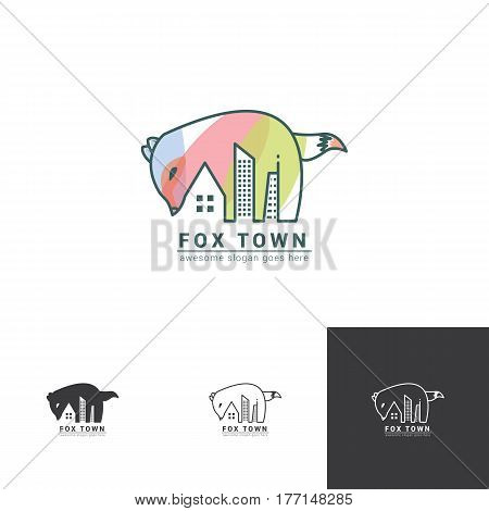 fox negative space logo with town or city landscape for creative residence