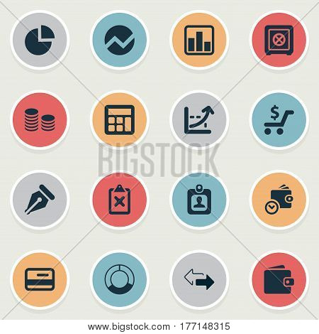 Vector Illustration Set Of Simple Banking Icons. Elements Two Directions, Nib, Rate And Other Synonyms Safety, Math And Payment.