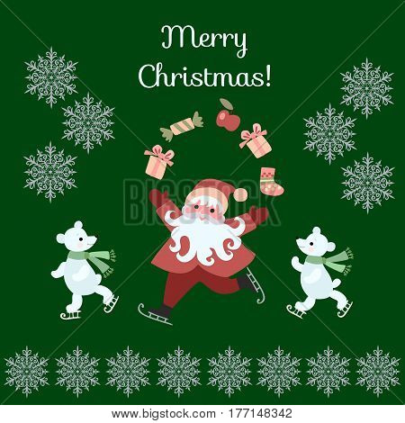 Greeting Card Merry Christmas! Cute cartoon Santa Claus juggling gifts and polar bears on skates. Vector illustration with silver snowflakes on dark green background.