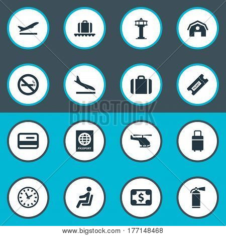 Vector Illustration Set Of Simple Airport Icons. Elements Luggage Carousel, Cigarette Forbidden, Handbag Synonyms Stop, Extinguisher And Smoke.