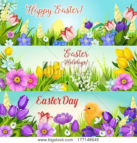 Happy Easter paschal eggs and springtime flowers bunch of crocuses, tulips, snowdrops and lily banners. Vector Easter Day greeting for spring holiday of Resurrection Sunday religion celebration
