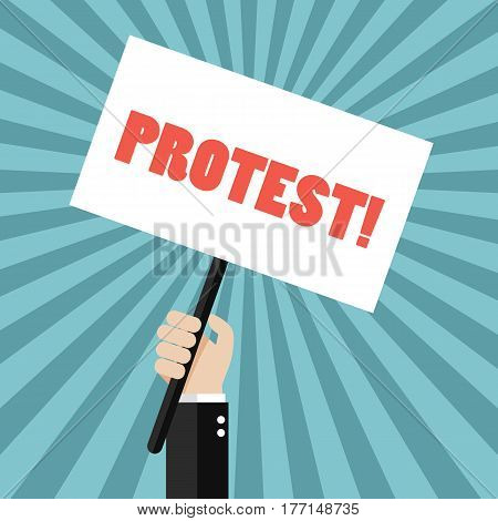 Hand holding protest sign. Vector illustration concept