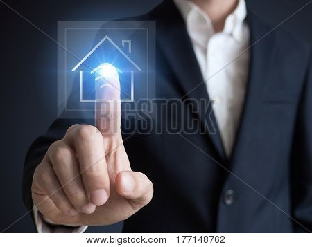 Intelligent house smart home and home automation concept. Symbol of the house and wireless communication.