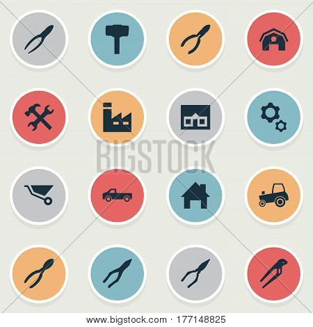 Vector Illustration Set Of Simple Build Icons. Elements Cart, Pliers, Construction And Other Synonyms Hangar, Adjustable And Instrument.