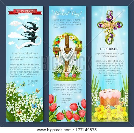 Easter Day greetings banner template set. Easter egg, cross, cake and bird cartoon flyer with flowers of tulip, lily and narcissus, floral wreath and swallow birds with He Is Risen ribbon banner