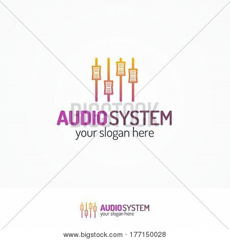 Audio system logo set with equalizer icon line modern color style isolated on white background for use music store, sound company, audio system shop, dj market etc. Vector Illustration