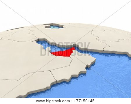 United Arab Emirates On Globe With Watery Seas