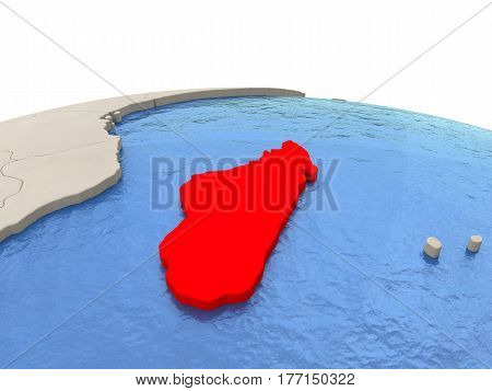 Madagascar On Globe With Watery Seas