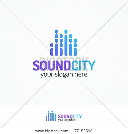 Sound city logo set modern color style isolated on white background for use music store, sound company, audio system shop, equipment market, dj etc. Vector Illustration