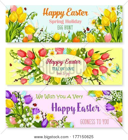 Happy Easter greeting banners set of paschal egg hunt and springtime flowers. Vector design of tulips, snowdrops and lily of valley bunch. Easter templates for Resurrection Sunday religion holiday