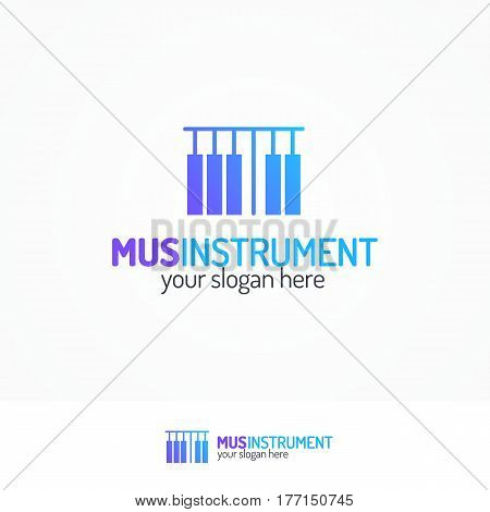 Music instrument logo set with piano keys icon modern color style isolated on white background for use music store, sound company, audio system shop, equipment market etc. Vector Illustration