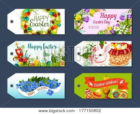 Happy Easter gift tag and greeting label set. Easter egg, rabbit bunny, egg hunt basket, floral wreath of egg and flowers of tulip, narcissus and lily, cross, candle and Happy Easter ribbon banner