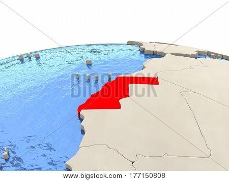 Western Sahara On Globe With Watery Seas
