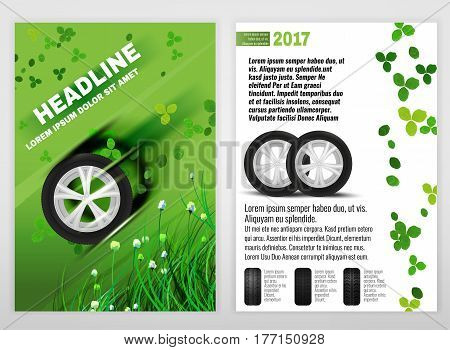 Vector ecological tyre leaflet template. Modern idea for flyer, book, booklet, brochure and poster design. Editable graphic layout with copyspace in black, white and green colors.