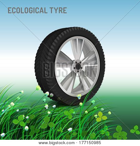 Ecological tyre image. Editable vector illustration in bright colours in realistic style.