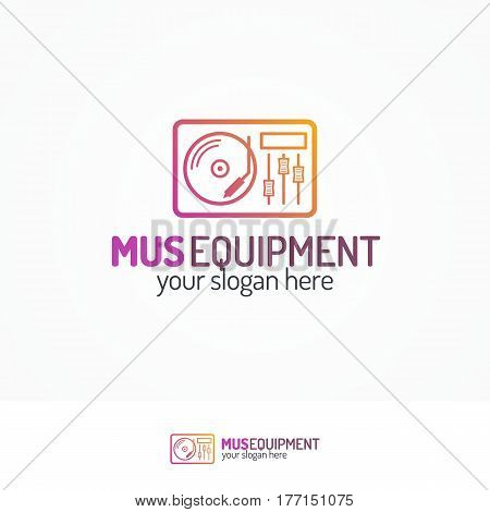 Music equipment logo set with record-player icon line modern color style isolated on white background for use music store, sound company, audio system shop, dj market etc. Vector Illustration