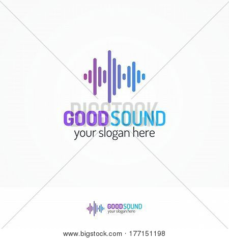 Good sound logo set line modern color style isolated on white background for use music store, sound company, audio system shop, dj market etc. Vector Illustration