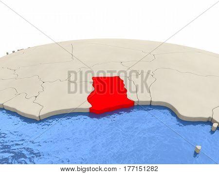 Ghana On Globe With Watery Seas