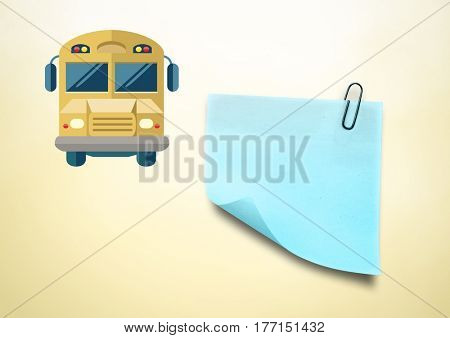 Digital composite of Sticky Note and School Bus icon against cream background