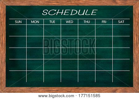 Chalkboard activity schedule for home Kitchen and classroom Weekly planner blackboard organizer agenda memo Ready for your message or graphic design. (Clipping path included)