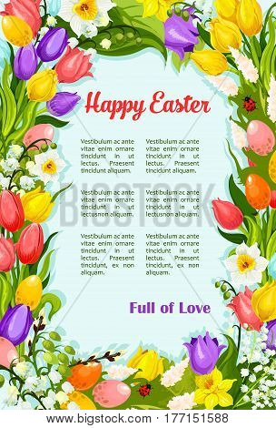 Happy Easter greeting poster with wreath of springtime flowers bunch. Spring Easter holiday tulips, snowdrops and lily of valley for card template on Resurrection Sunday religion celebration