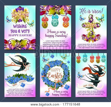 Happy Easter greeting card and poster set. Easter egg with floral cross and wreath of tulip, lily, narcissus and forget-me-not flowers with swallow bird, butterfly, ribbon and bow. Egg Hunt design