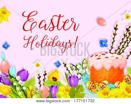 Happy Easter greeting card design. Paschal eggs and cake for Easter hunt. Vector springtime flowers bunch of willow switches, tulips, snowdrops and butterfly on lily bunch for religion holiday