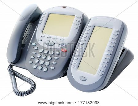 Digital telephone set with expansion button module isolated on white