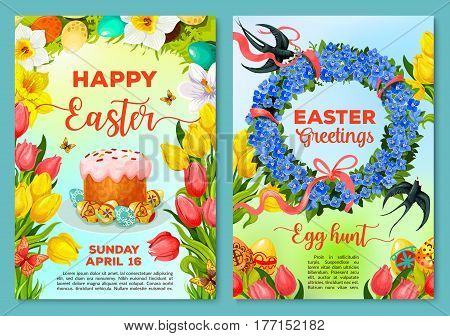 Easter Egg Hunt poster and invitation flyer template. Easter egg and cake with spring floral wreath of tulip, narcissus and forget-me-not flowers with ribbon, bow, swallow bird and butterfly