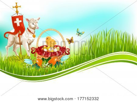 Easter greeting card with passover lamb, paschal eggs in wicker basket, cross on flag and chick in flowers and willow switches. Vector Happy Easter or Resurrection Sunday religion holiday design