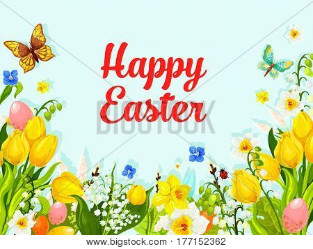 Happy Easter greeting card of paschal eggs hunt in springtime flowers bunch of tulips, snowdrops and lily of valley with butterfly and ladybug. Easter vector template for Resurrection Sunday holiday